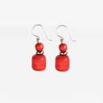 Dual bead wooden earrings