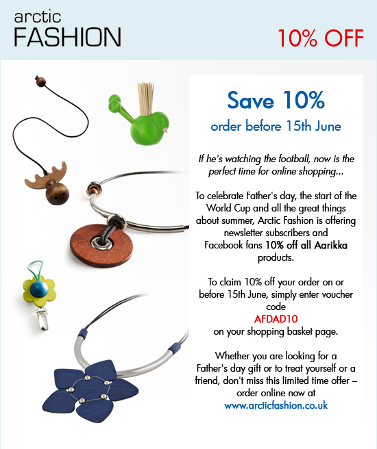 Save 10% on all Aarikka products before 15th June