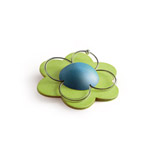 Flower brooch - green and blue