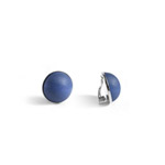 Blue clip-on button earrings 'Turku'