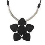 black flower pendant necklace Orkidea