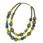 Mixed green wooden necklace 'Rentukka'