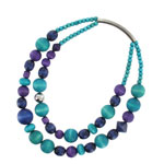 Mixed blue wooden necklace 'Rentukka'
