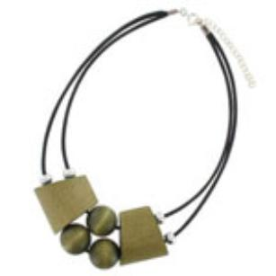 Olive green wooden necklace 'Fontana'